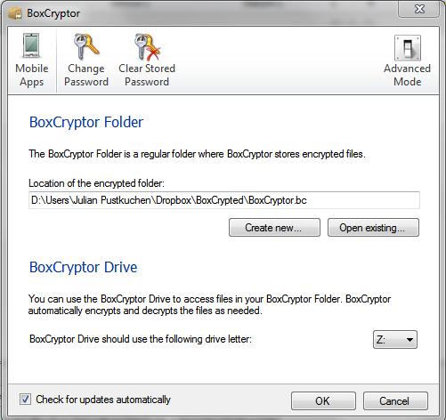 BoxCryptor Advanced Settings